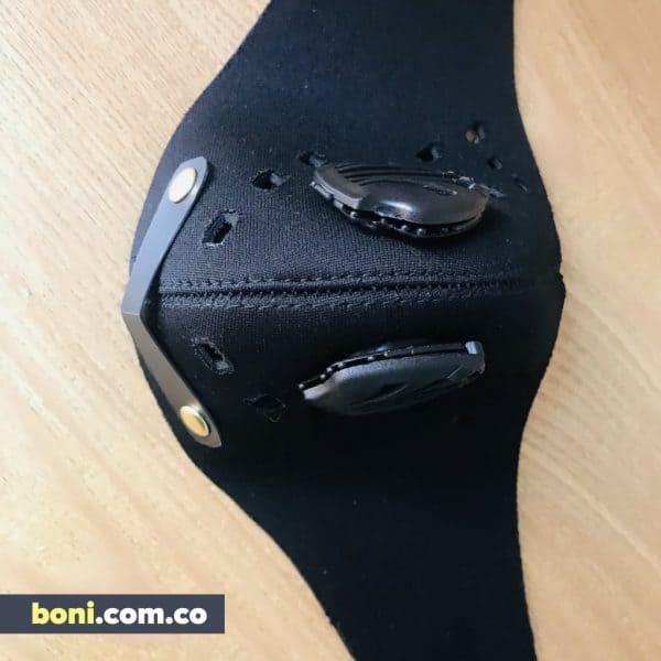 Tapabocas deportivo válvulas y filtros ajuste velcro