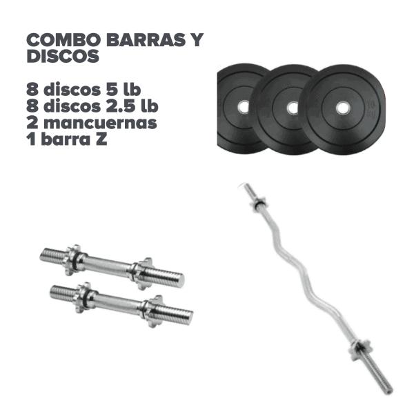 Combo 16 discos, 2 mancuernas y barra - Bogotá