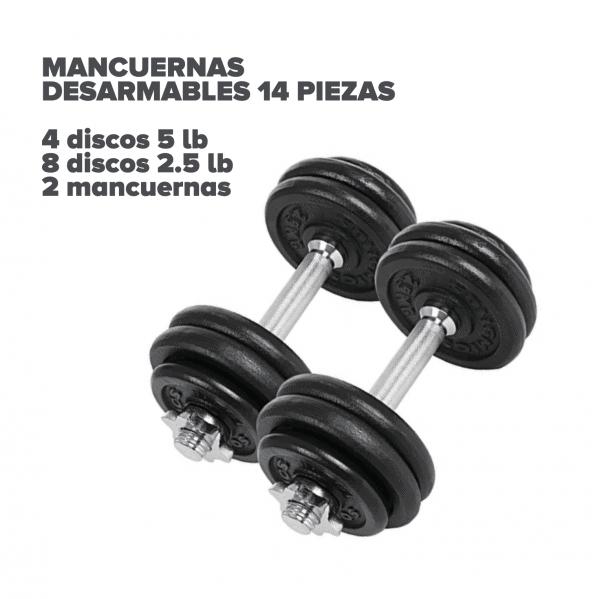 Set 2 mancuernas desarmables 14 piezas - Bogotá