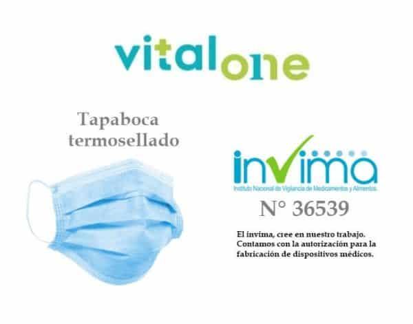 Caja 50 Mascarillas Desechables VitalOne termosellados registro INVIMA