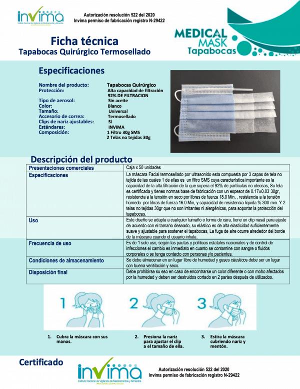 Caja 50 tapabocas UltraCleans Termosellados 3 capas INVIMA   Empaque Individual
