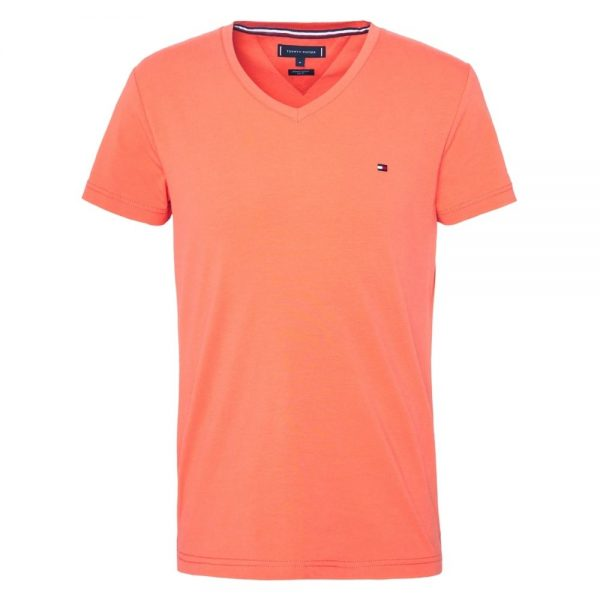 Camiseta Hombre Tommy Hilfiger con Cuello en V Canteloupe | Original
