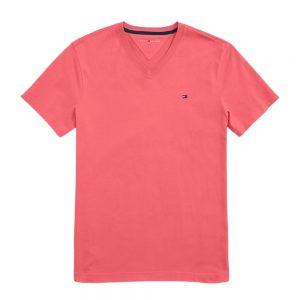 Camiseta Hombre Tommy Hilfiger con Cuello en V Rosada | Original
