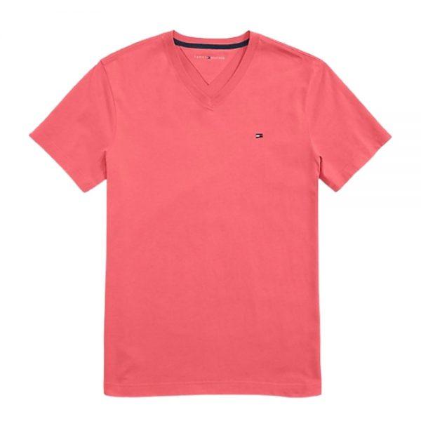 Camiseta Hombre Tommy Hilfiger con Cuello en V Rosada   Original