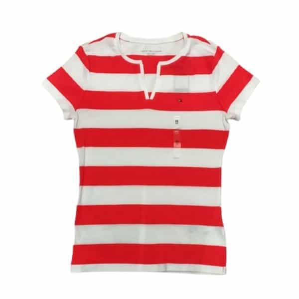 Camiseta de Mujer Tommy Hilfiger Essential Split-Neck Rugby Coral White   Original