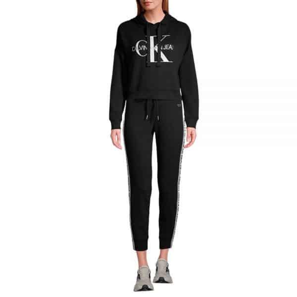 Hoodie Mujer Calvin Klein Monogram Logo Drawstring Black    Original