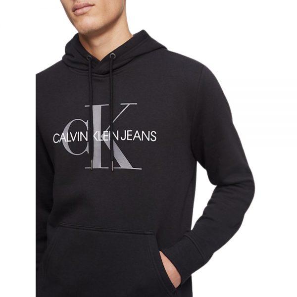 Hoodie Hombre Calvin Klein Monogram Logo con Capota Negra   Original