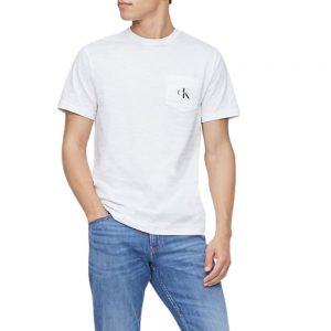 Camiseta Hombre Calvin Klein Monogram Logo Slub Crewneck White | Original