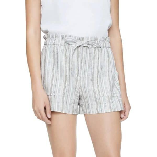 "Shorts Mujer Calvin Klein Striped Linen Blend Tie Waist 4"" Khaki | Original"
