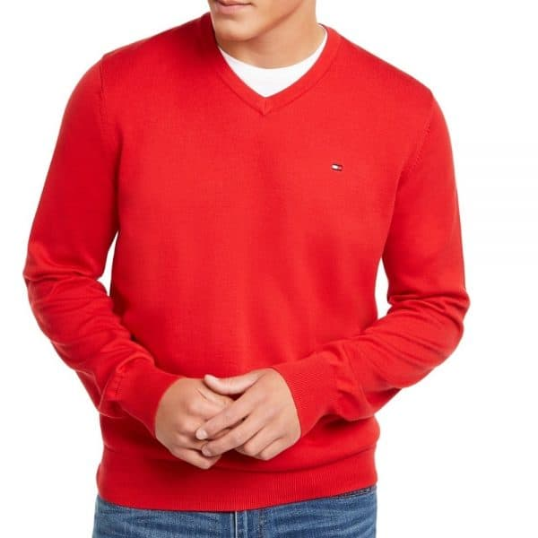Buzo Hombre Tommy Hilfiger Sweater Signature Solid V-Neck Red | Original