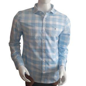 Camisa Manga Larga Hombre Tommy Hilfiger Slim Fit Stretch Cuadros Azul y Blanco | Original
