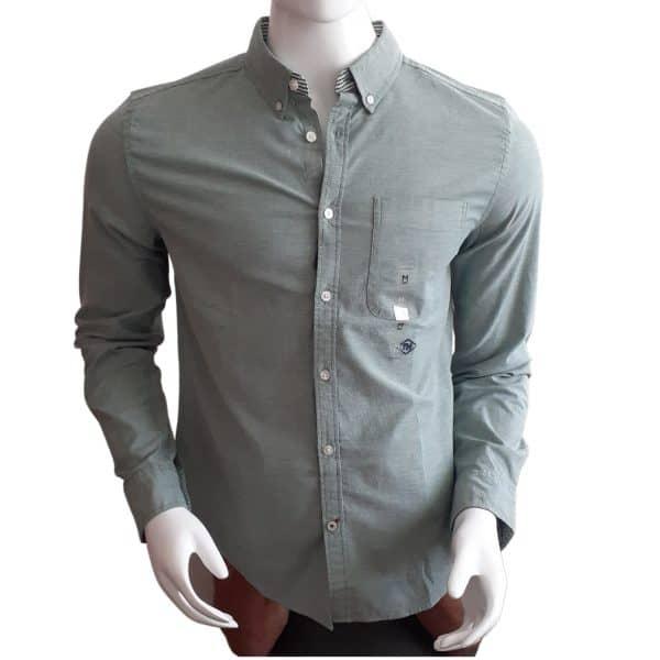 Camisa Manga Larga Hombre Tommy Hilfiger Custom Fit Essential Solid Green | Original