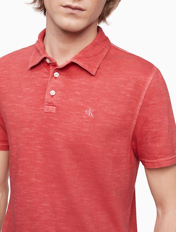Polo Hombre Calvin Klein Monogram Logo Slub Anthem Red | Original