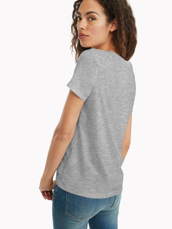 Camiseta Mujer Tommy Hilfiger T-Shirt Essential Logo Grey   Original