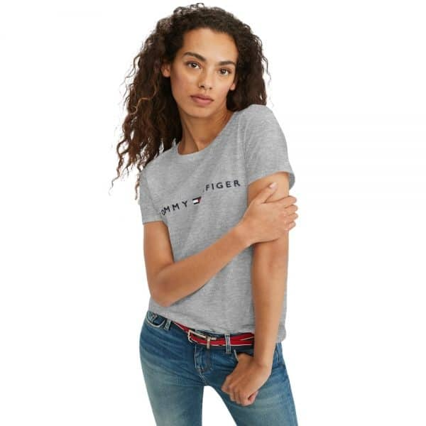 Camiseta Mujer Tommy Hilfiger T-Shirt Essential Logo Grey | Original