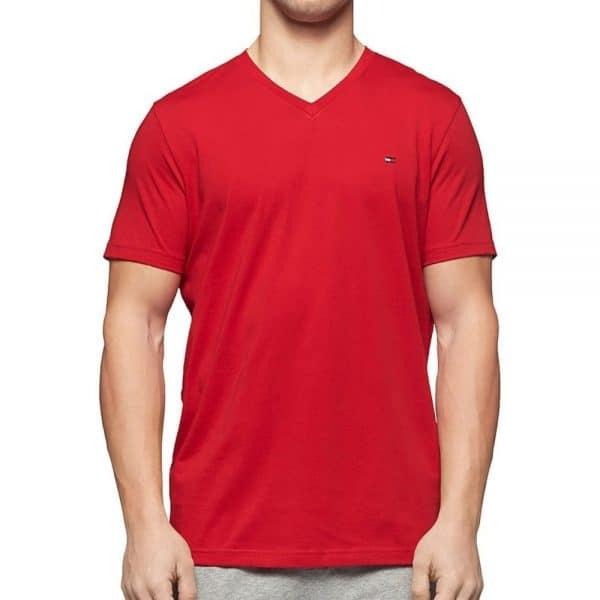 Camiseta Hombre Tommy Hilfiger Cuello en V Rojo | Original