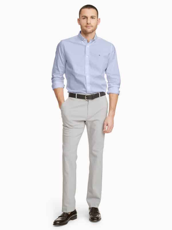 Camisa Manga Larga Hombre Tommy Hilfiger Custom Fit Essential Solid Blue | Original