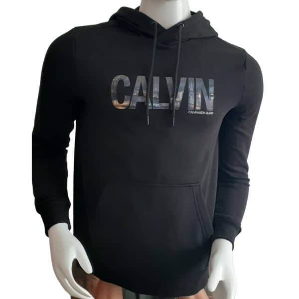Hoodie Hombre Calvin Klein City Logo Print Black   Original