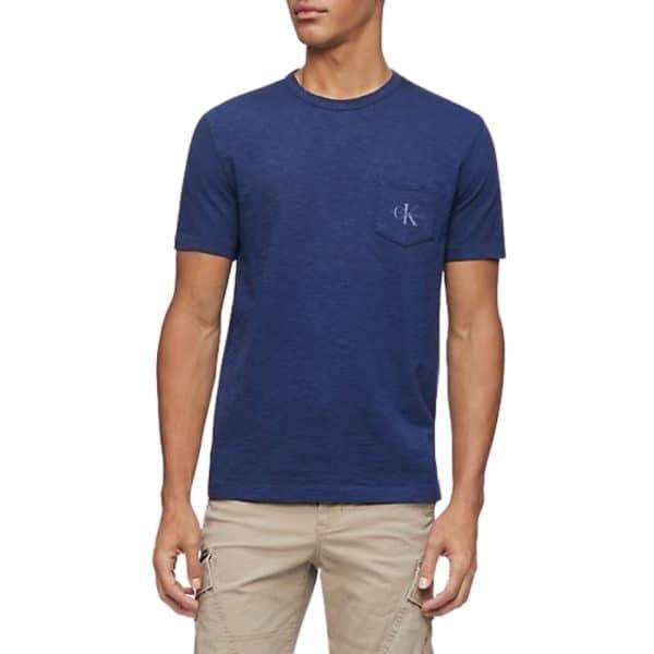 Camiseta Calvin Klein Monogram Logo Slub Crewneck Peatcoat | Original