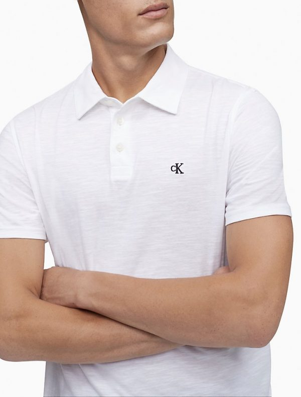 Polo Hombre Calvin Klein Monogram Logo Slub White   Original