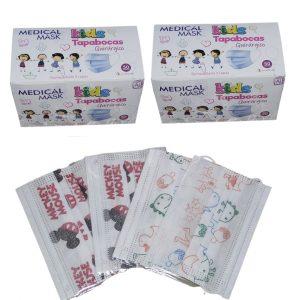 2 Cajas Total 100 Tapabocas Niños Medical Mask Estampado Quirúrgico Termosellados 3 capas INVIMA | Empaque Individual
