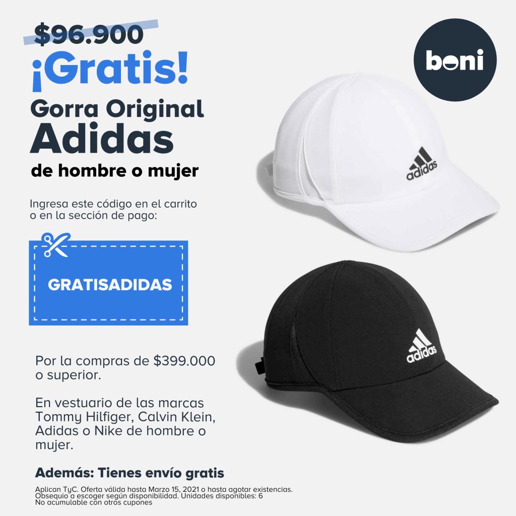 cupon gorra adidas gratis en boni.com.co