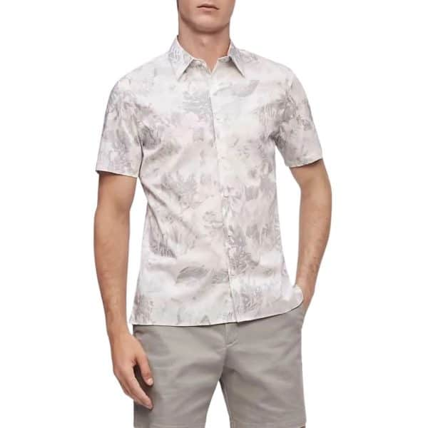 Camisa Hombre Calvin Klein Shirt Manga Corta Botones Stretch Cotton Floral | Original
