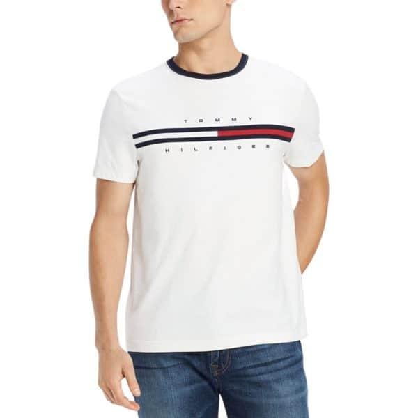 Camiseta Hombre Tommy Hilfiger T-Shirt Essential Flag Logo White | Original