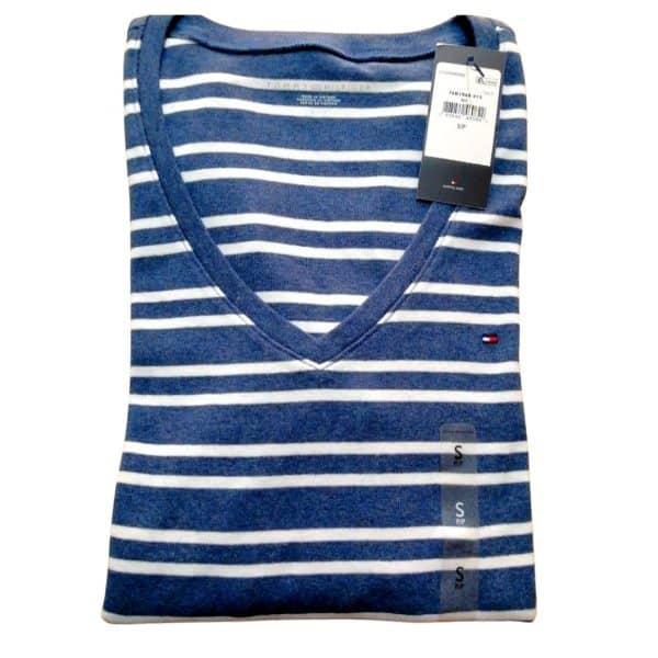 Buzo Mujer Tommy Hilfiger 3/4 Stripes V Neck Blue White | Original