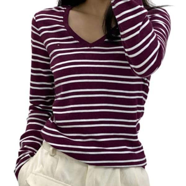 Buzo Mujer Tommy Hilfiger 3/4 Stripes V Neck Wine White | Original