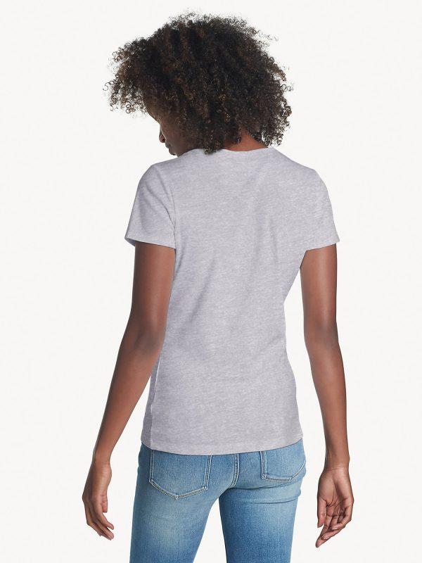 Camiseta Mujer Tommy Hilfiger T-Shirt Essential Split-Neck Grey Heather   Original