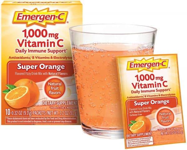 Emergen-C Vitamina C 1000mg Polvo Sabor naranja   10 Sobres en Polvo