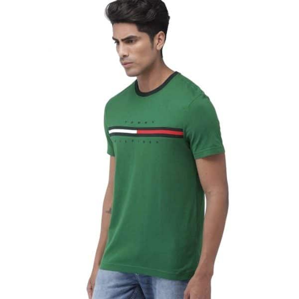 Camiseta Hombre Tommy Hilfiger T-Shirt Essential Flag Logo Green | Original
