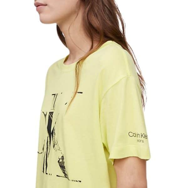 Camiseta Mujer Calvin Klein Distressed Monogram Logo Crewneck T-Shirt Direct Green | Original