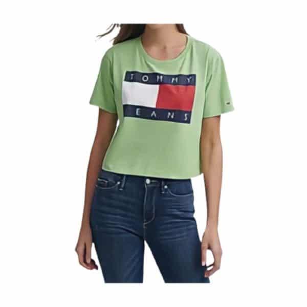 Camiseta Mujer Tommy Hilfiger Logo-Print Cropped Cotton T-Shirt Verde   Original
