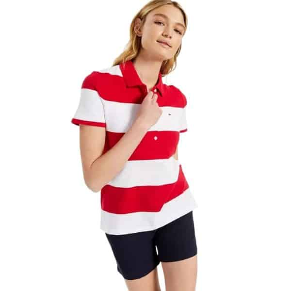 Camiseta Mujer Tommy Hilfiger Striped Piqué Polo Shirt Scarlet/Bright White   Original