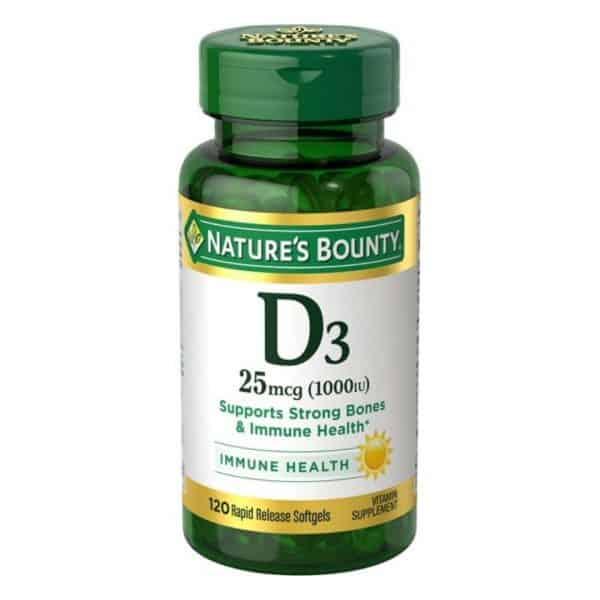 Vitamina D3 Nature's Bounty Softgels 25 mcg |120 Cápsulas