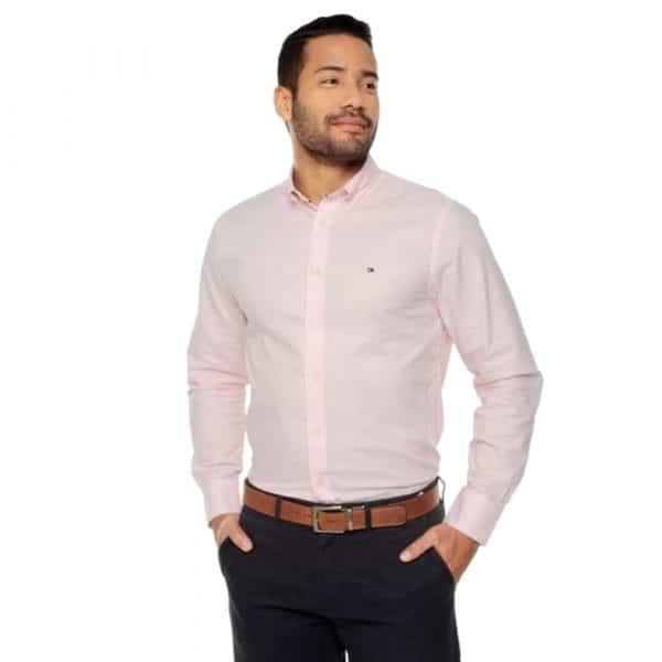 Camisa Manga Larga Hombre Tommy Hilfiger Slim Fit Stretch Rosa Claro| Original
