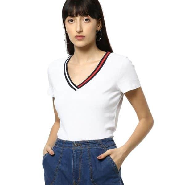 Camiseta Mujer Tommy Hilfiger T-Shirt Essential Split-Neck White | Original