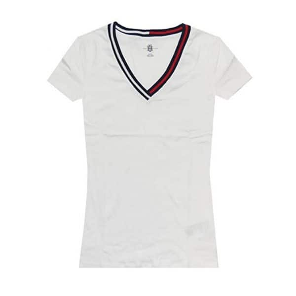Camiseta Mujer Tommy Hilfiger T-Shirt Essential Split-Neck White   Original