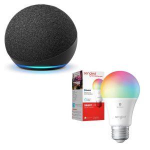 Amazon Echo Dot Alexa 4ta Generación + Bombilla Inteligente Sengled   Original