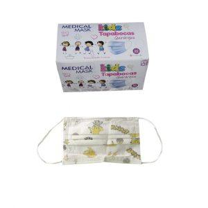 1 Caja Total 50 Tapabocas Niños Medical Mask Estampado Quirúrgico Termosellados 3 capas INVIMA | Empaque Individual