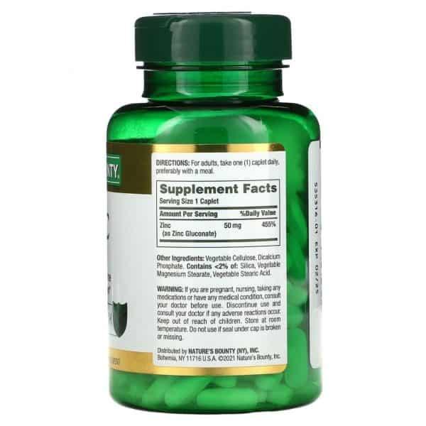 Zinc Nature's Bounty 50 mg | 200 Cápsulas